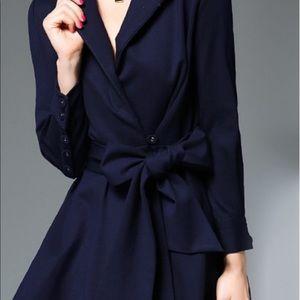 Tie Waist Wrap Midi Dress With Asymmetric Hem